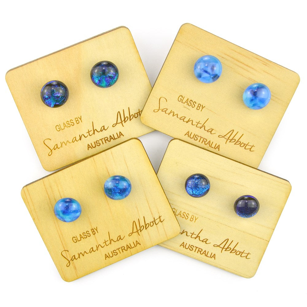 Samantha Abbott Glass Earrings -Blue