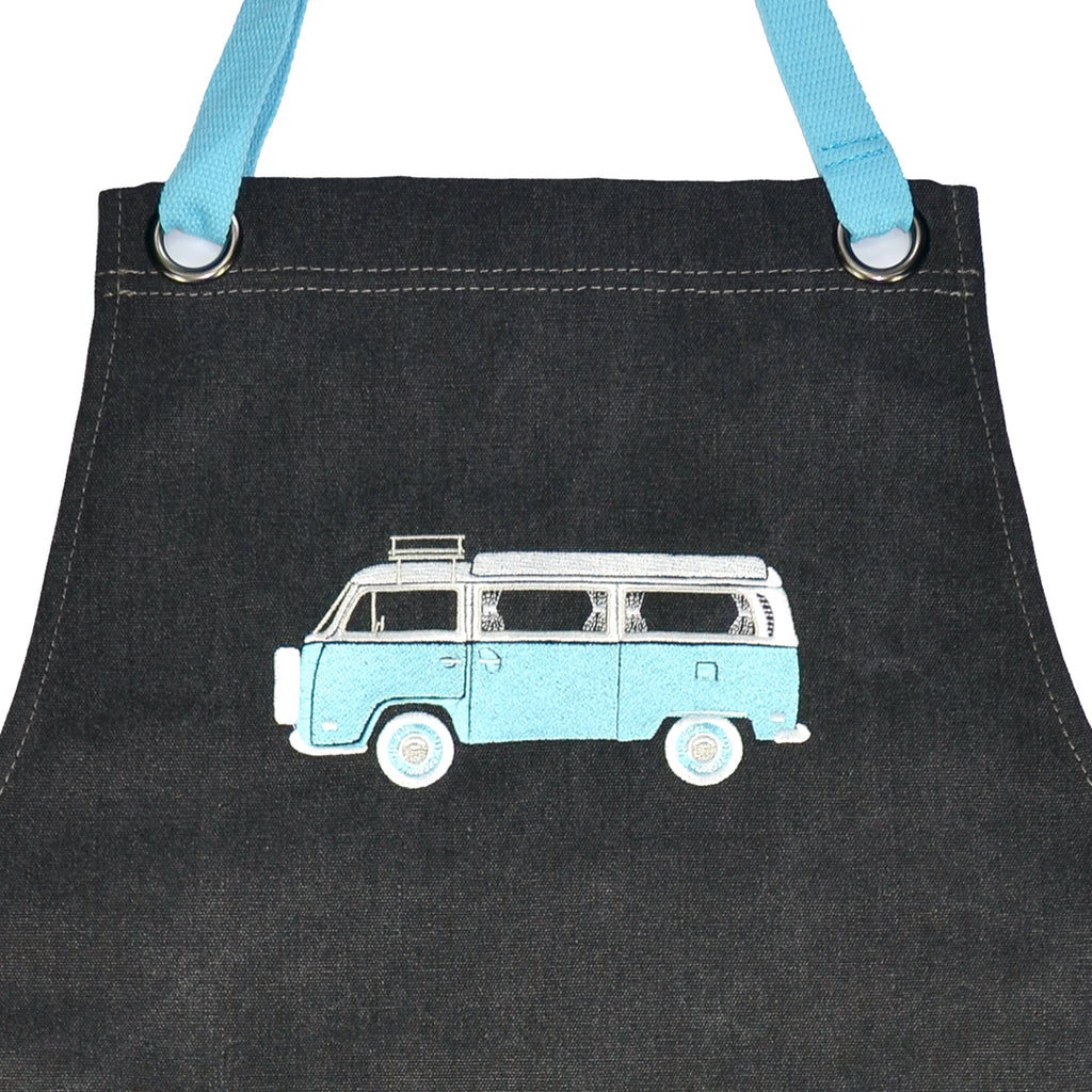 Embroidered Apron | Kombi Caravan | Hippy Days Pale Plue