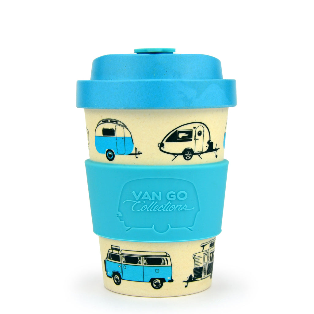 Bamboo Travel Mug | 300ml | Van Go Collections 'Hippy Days' Pale Blue