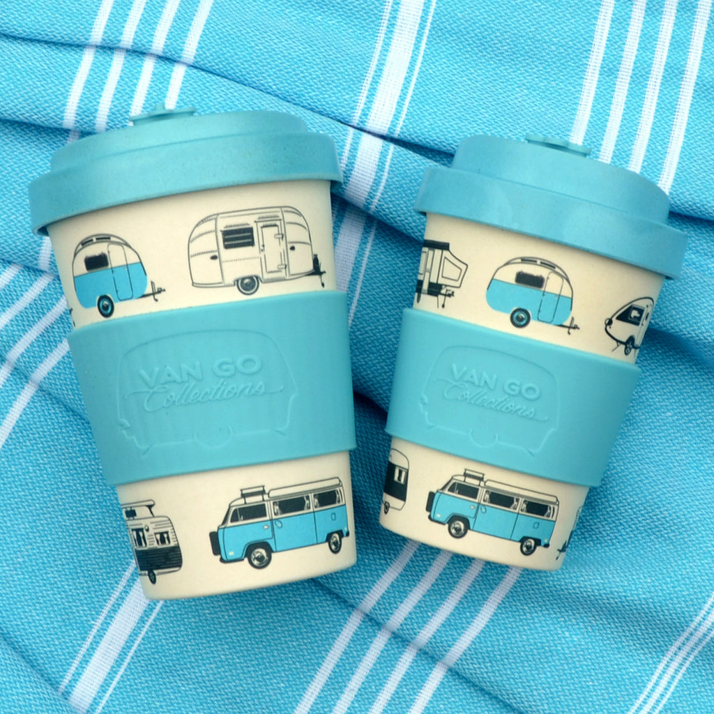 Bamboo Travel Mug | 400ml | Van Go Collections 'Hippy Days' Pale Blue