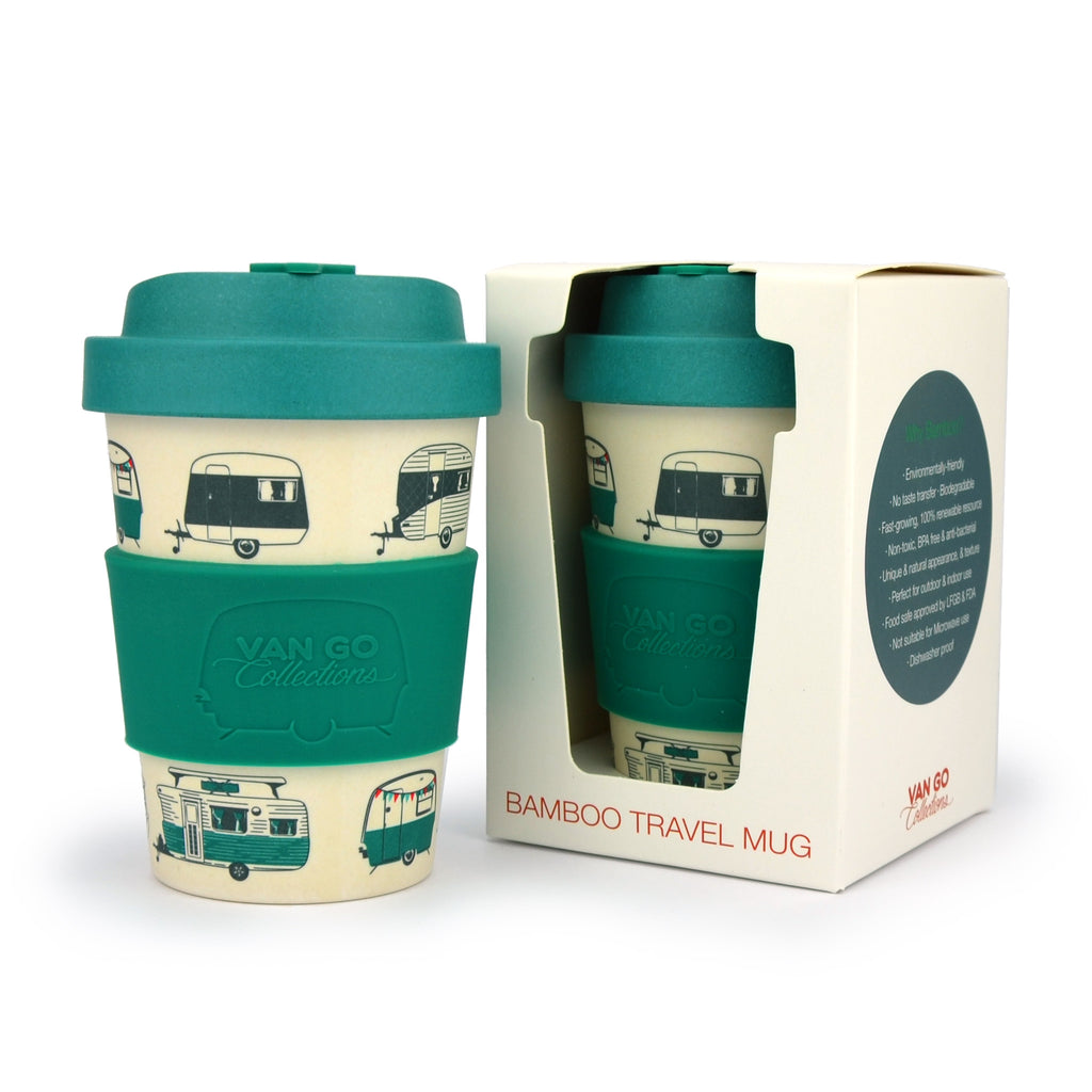 Bamboo Travel Mug | 300ml | Van Go Collections 'Magical Mornings' Dark Green