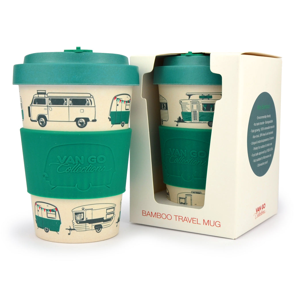 Bamboo Travel Mug | 400ml | Van Go Collections 'Magical Mornings' Dark Green