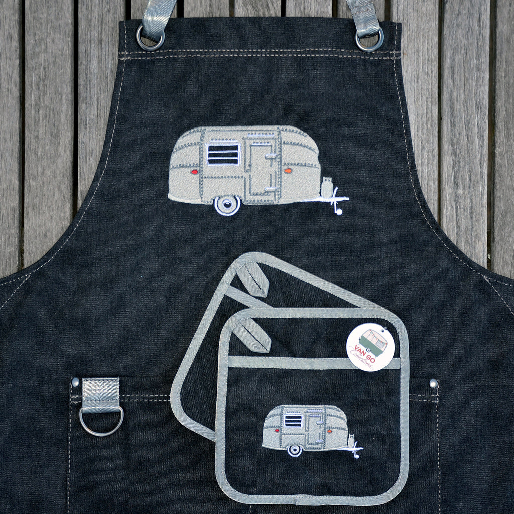 Embroidered Apron | Silver Bullet Caravan | Starry Nights Silver