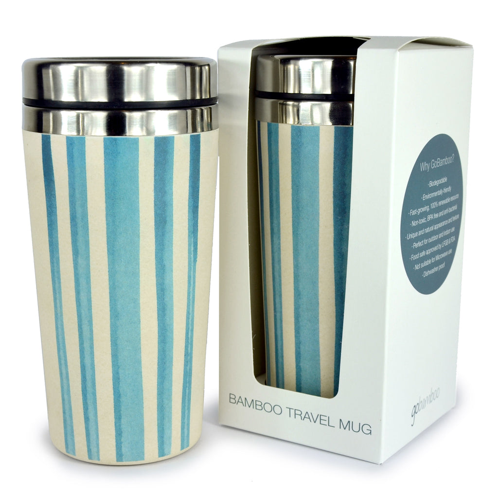 Bamboo Travel Mug | Go Bamboo | Watercolour Stripes | 450ml