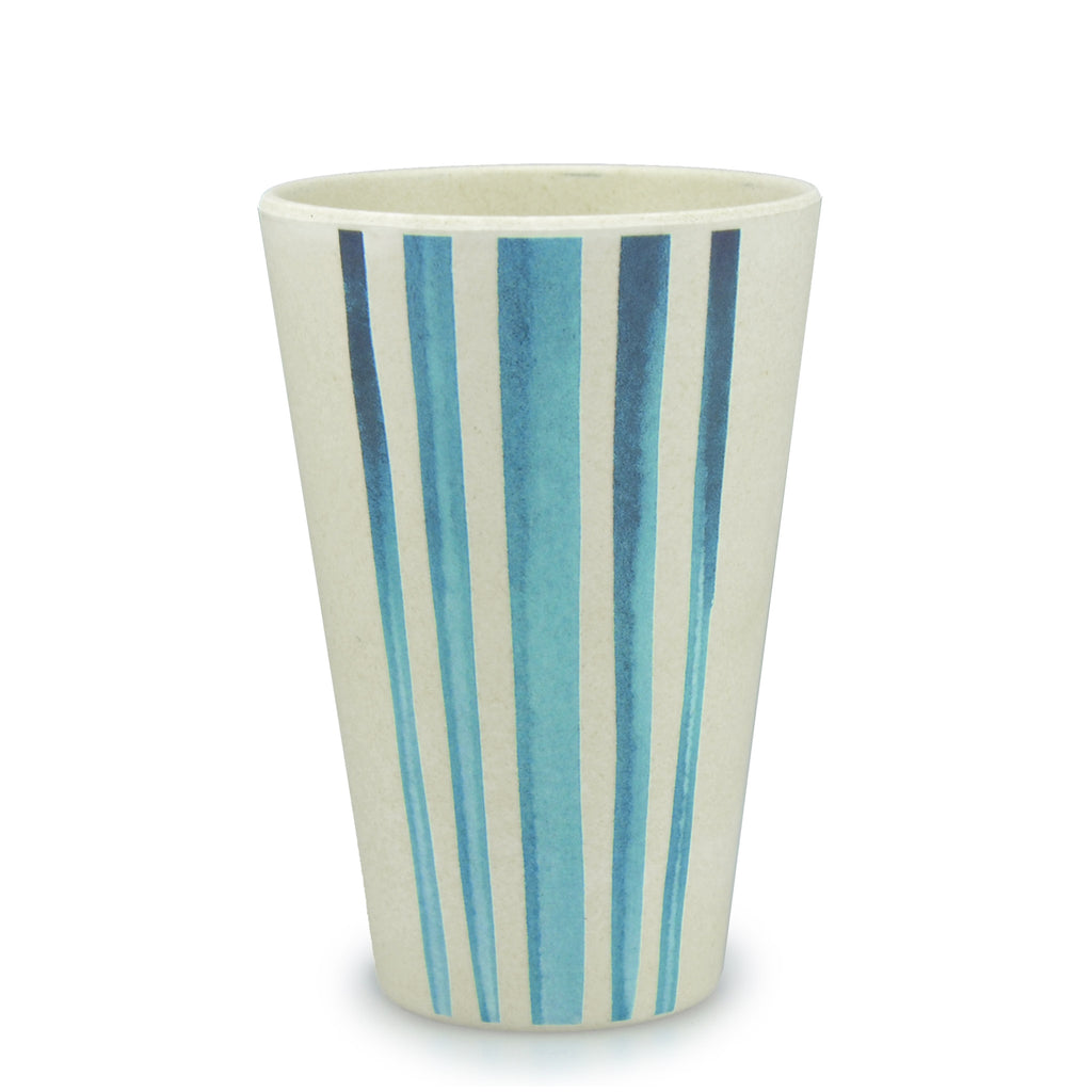 Bamboo Tumbler | 400ml | Go Bamboo 'Watercolour Stripes'