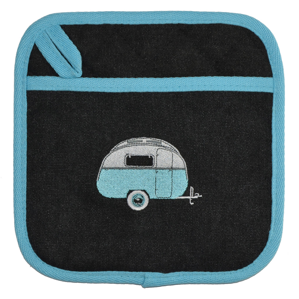 Embroidered Pot Holders | Kombi Caravan | Hippy Days Pale Blue