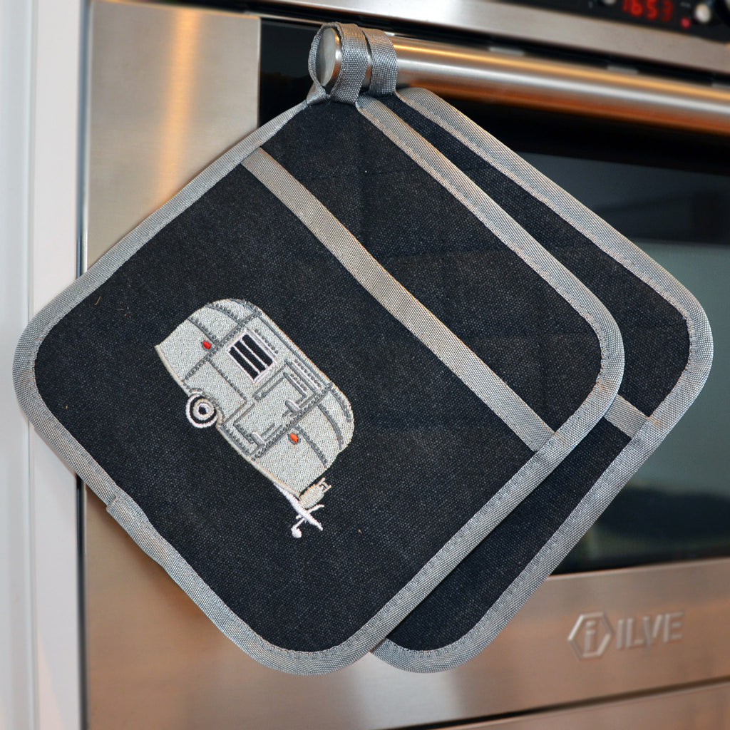 Embroidered Pot Holders | Silver Bullet Caravan | Starry Nights Silver