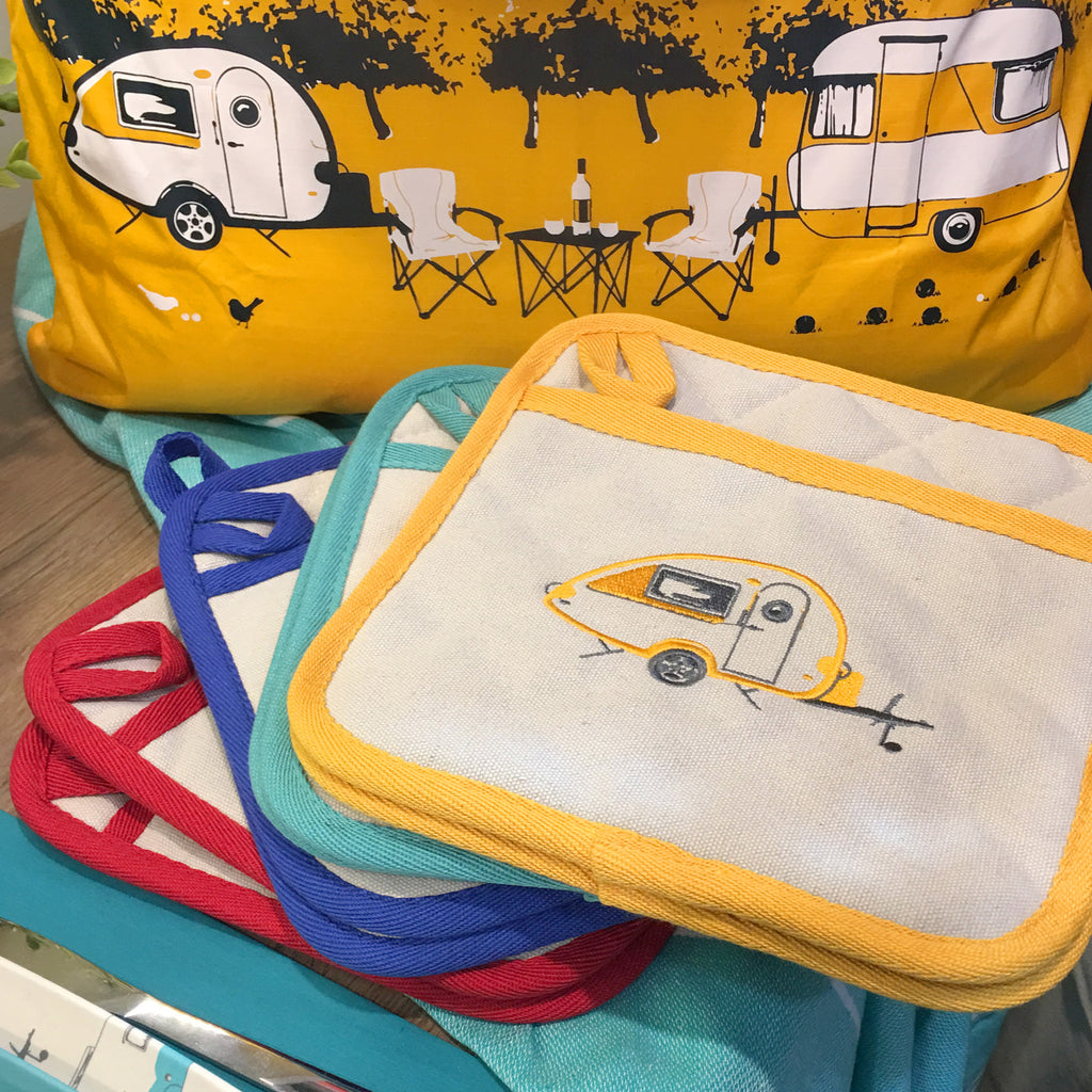 Embroidered Pot Holders | Teardrop Caravan | Autumn Yellow