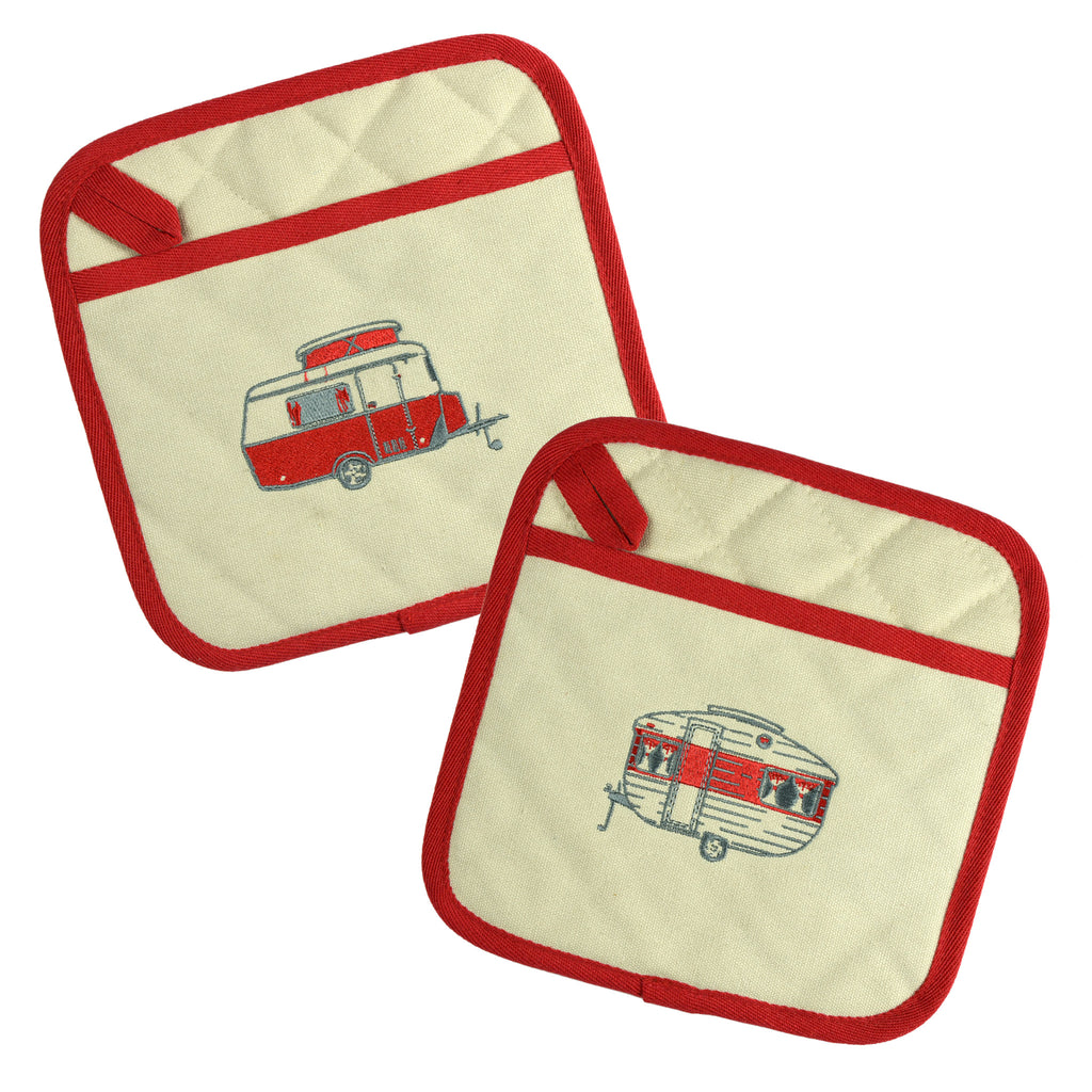 Embroidered Pot Holders | Mini Caravan | Spring Red