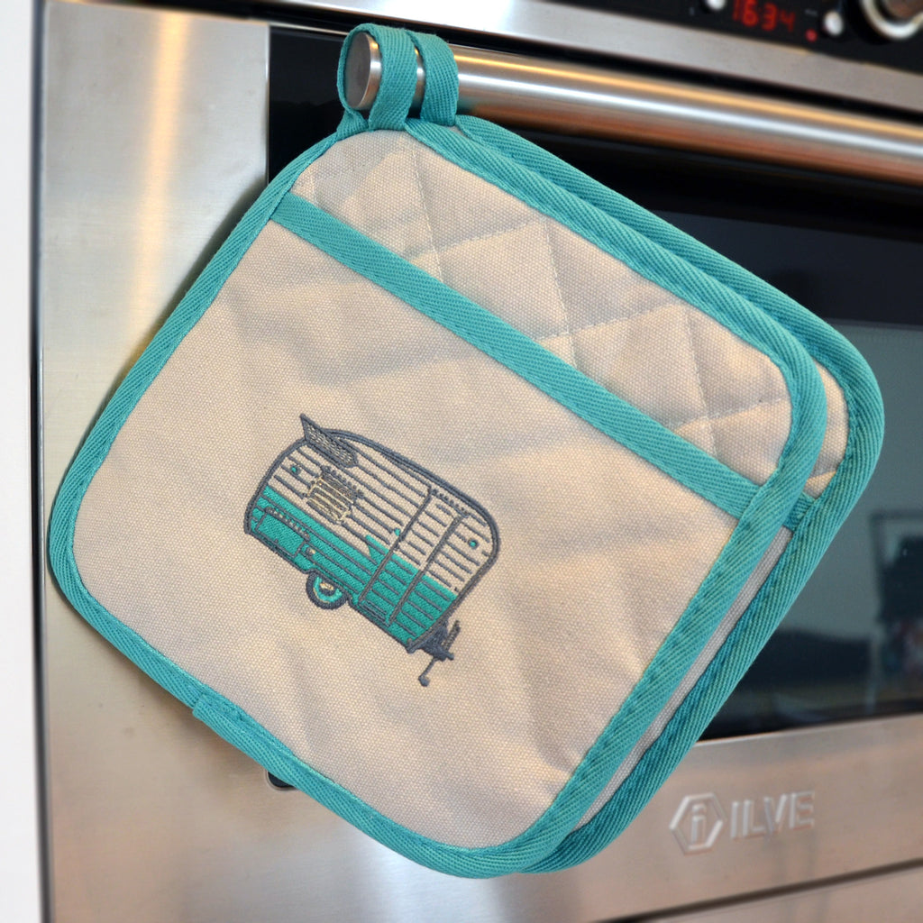 Embroidered Pot Holders | Wings Caravan | Summer Green