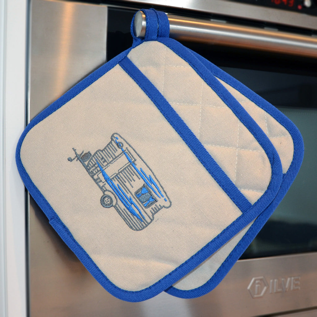 Embroidered Pot Holders | Bluey Caravan | Winter Blue