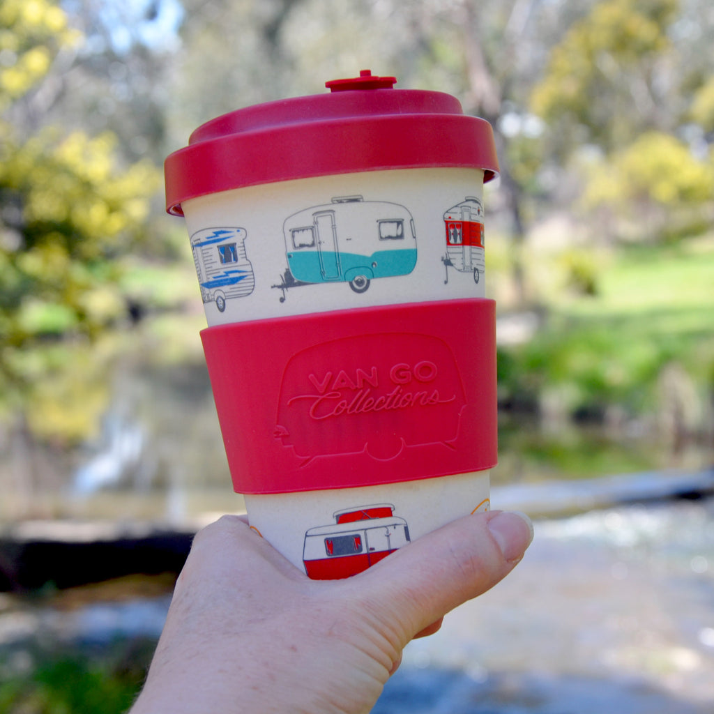 Bamboo Travel Mug | 400ml | Van Go Collections 'Spring' Red
