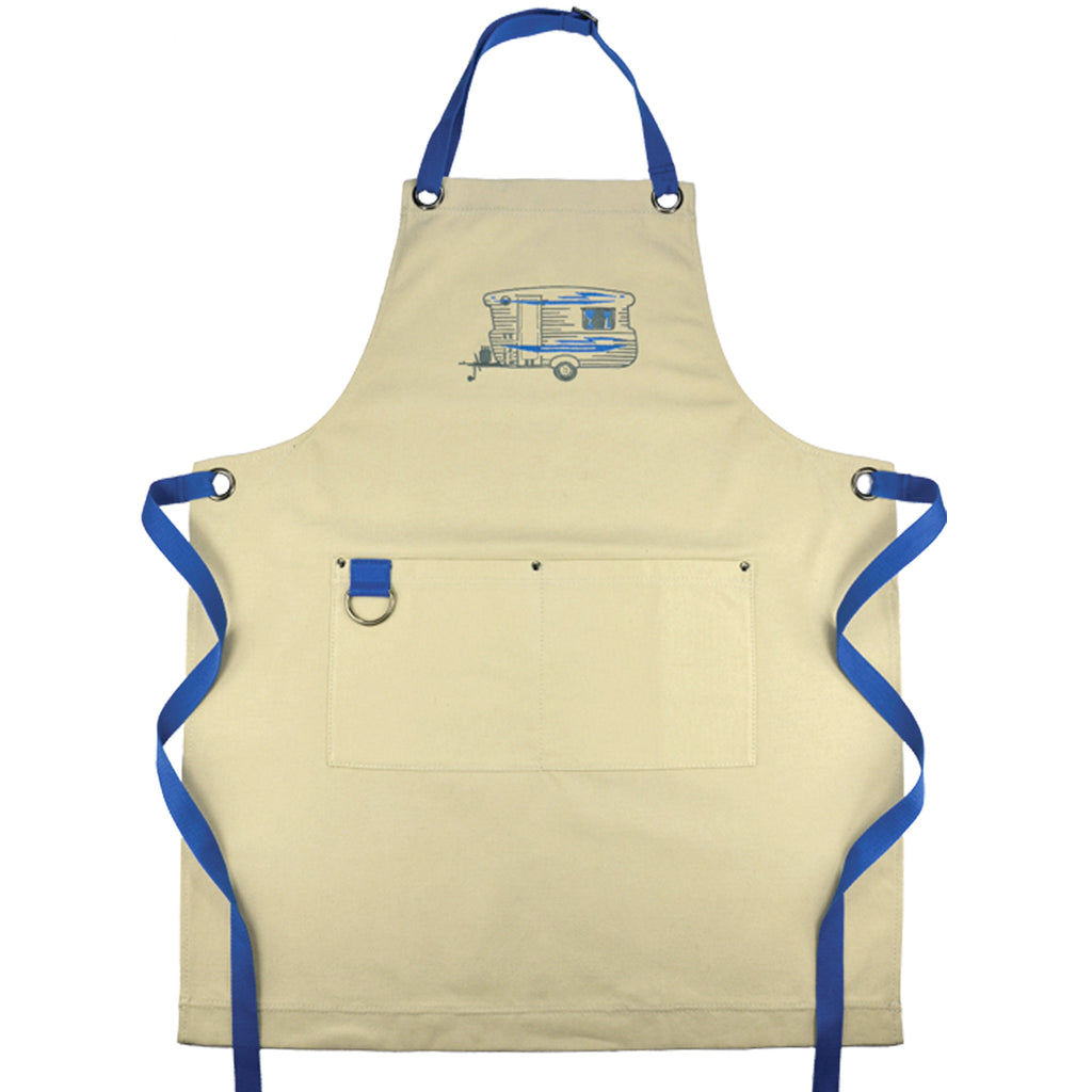 Embroidered Apron | Bluey Caravan | Winter Blue