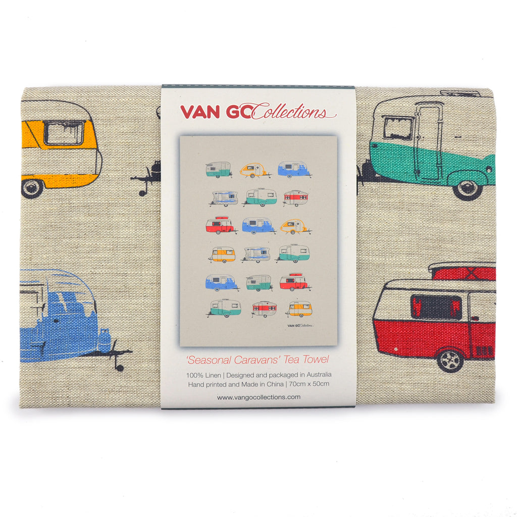 Tea Towel | Seasonal Collection | Coloured Caravans
