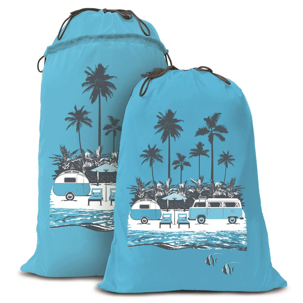 Expandable Laundry Bag | Hippy Days Pale Blue