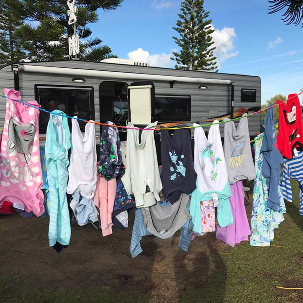 Caravanning with Kids - Pegless Clotheslines