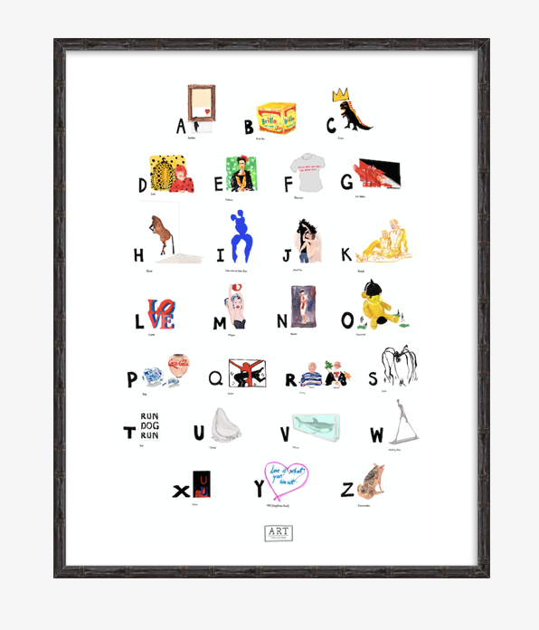 Contemporary Art ABC Print completed by New York City based artist, Pauline de Roussy de Sales. Artwork examples by blue chip contemporary artists such as Tracey Emin, Banksy, Andy Warhol, Jean-Michel Basquiat, and Damian Hirst. In black bamboo frame.