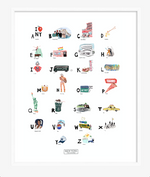 New York ABC Print created by New York City-based artist, Pauline de Roussy de Sales. Letter references the Big Apple; Chelsea Hotel; fashion maven, Iris Apfel; Central Park; and jazz master, Billie Holiday.
