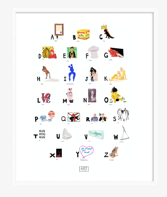 Contemporary Art ABC Print completed by New York City based artist, Pauline de Roussy de Sales. Artwork examples by blue chip contemporary artists such as Tracey Emin, Banksy, Andy Warhol, Jean-Michel Basquiat, and Damian Hirst. In white frame.