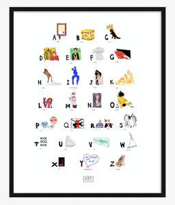 Contemporary Art ABC Print completed by New York City based artist, Pauline de Roussy de Sales. Artwork examples by blue chip contemporary artists such as Tracey Emin, Banksy, Andy Warhol, Jean-Michel Basquiat, and Damian Hirst. In Black Frame