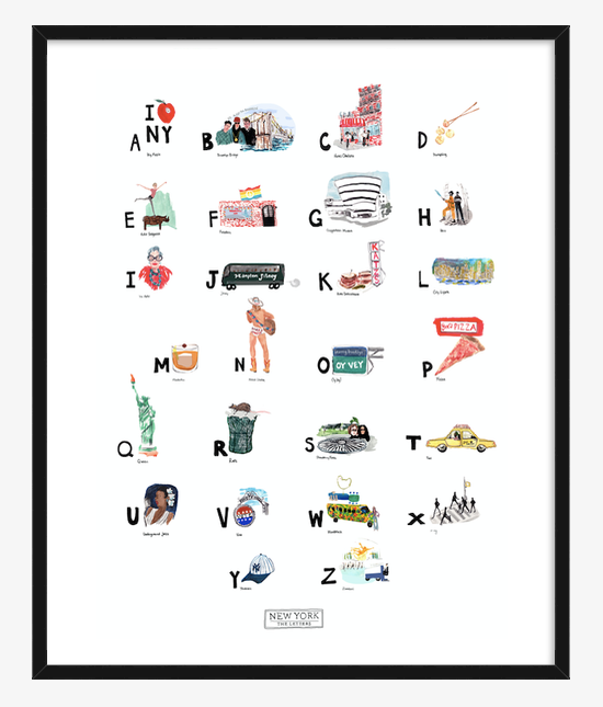 New York ABC Print completed by New York City based artist, Pauline de Roussy de Sales. Letter references of the Big Apple, Chelsea Hotel, fashion maven Iris Apfel, Central Park, and jazz master Billie Holiday. In Black Frame.