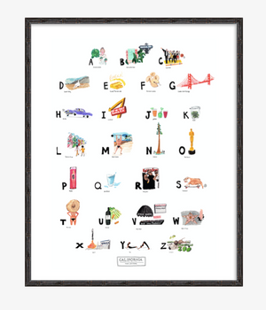 California ABC Print completed by New York City based artist, Pauline de Roussy de Sales. Letter references of California favorites such as Marilyn Monroe, Rolling Stone Magazine, Barbie, Beverly Hills Hotel, Yoga, Napa Valley, Hip Hop, and Muscle Beach. In Black Bamboo Frame