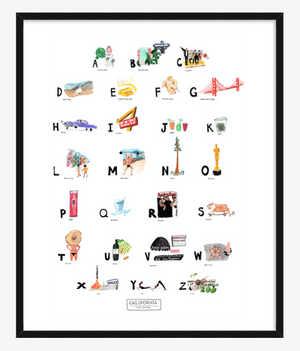 California ABC Print completed by New York City based artist, Pauline de Roussy de Sales. Letter references of California favorites such as Marilyn Monroe, Rolling Stone Magazine, Barbie, Beverly Hills Hotel, Yoga, Napa Valley, Hip Hop, and Muscle Beach. In Black Frame