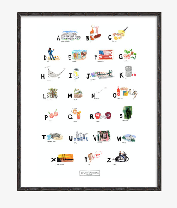 South Carolina ABC Print completed by New York City based artist, Pauline de Roussy de Sales. Letter references are of southern architecture, James Brown, sweet Carolina peaches, loggerhead turtle, and the famous South Carolina oyster roasts. In black bamboo frame.