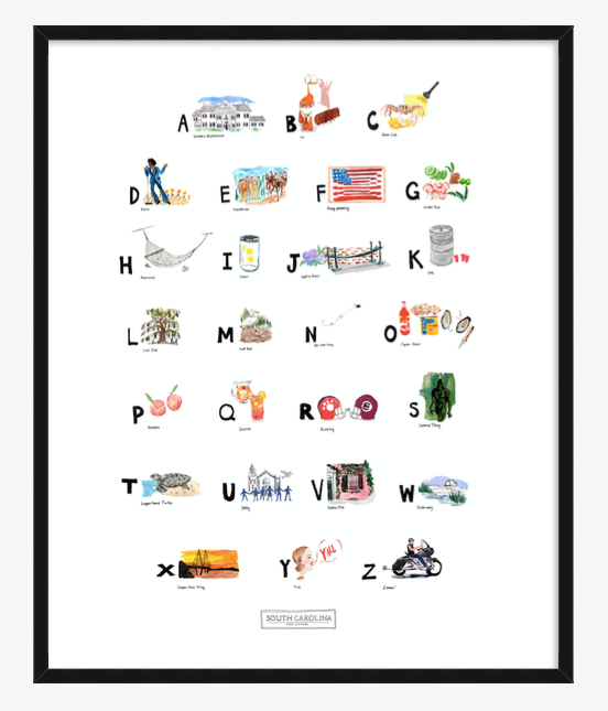 South Carolina ABC Print completed by New York City based artist, Pauline de Roussy de Sales. Letter references are of southern architecture, James Brown, sweet Carolina peaches, loggerhead turtle, and the famous South Carolina oyster roasts. In black frame