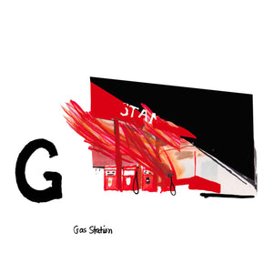 G is for Gas Station. California based artist, Ed Ruscha, has always been interested in elevating the ordinary and overlooked, as seen in the Standard Gas Station illustrated. His first book, self-published in 1963, was titled 'Twentysix Gasoline Stations.' It displayed only photographs of gas stations that he passed on Route 66.