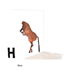 H is for Horse. Italian contemporary artist, Maurizio Cattelan's artwork installation of a stallion with its head through the wall, and body suspended is one of many works of this nature. His artwork is humorous and contrasts the perspective of the subject and the viewer.