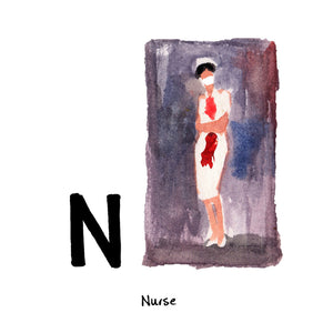 N is for Nurse. Much of Richard Prince's artwork is created by 'borrowing' images, slightly altering them and calling them his own, also known as 'appropriation.' The Nurse Painting images are sourced from cheap romance novels and the titles of the artworks are borrowed from the originating book title such as 'Debutant Nurse' or 'Bachelor Nurse.'