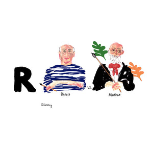 R is for Rivalry. Introduced in 1906 by Gertrude Stein, Pablo Picasso and Henri Matisse developed a sometimes healthy but perpetually competitive relationship. They met regularly to scrutinize each others work. This both fueled their already competitive relationship but also very much inspired each artists work.