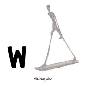 W is for Walking Man. Alberto Giacometti worked primarily in figurative sculpture, drawing and painting. His figures are identified by their withered, elongated forms. In 2010, 'Walking Man I,' broke the record for the highest price paid for a work of art at $104.3m.