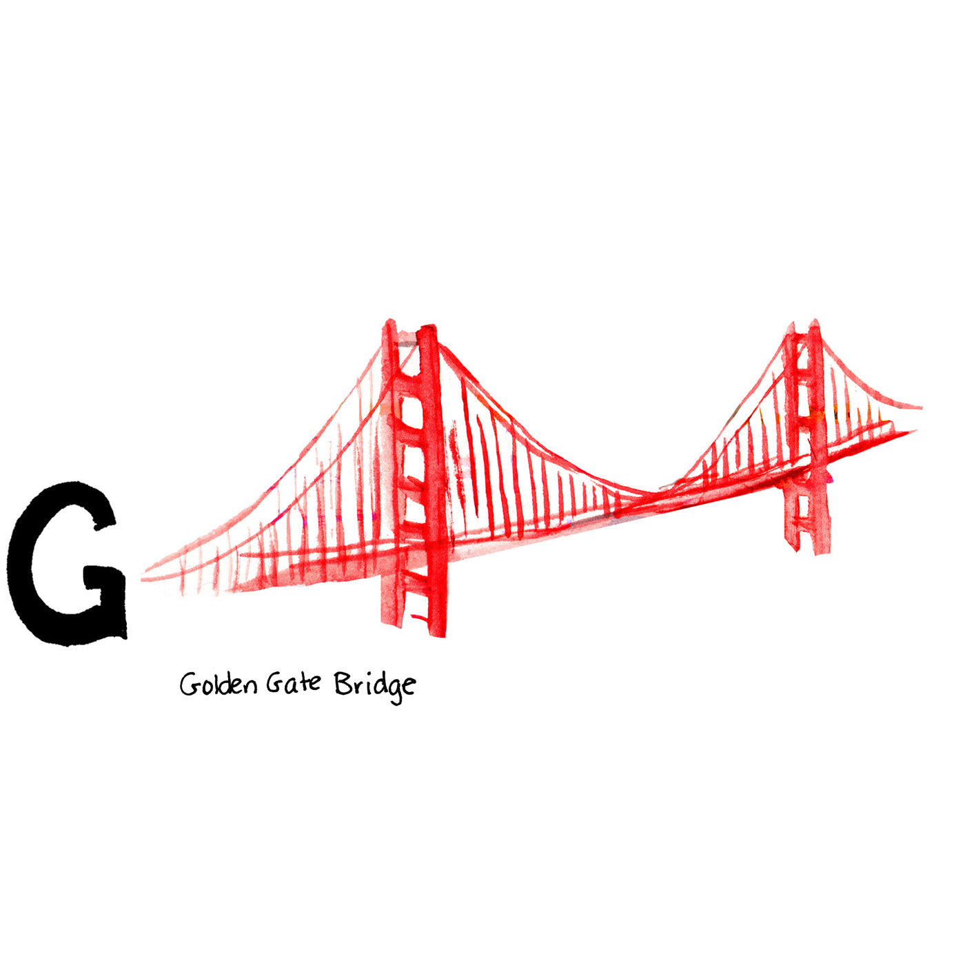 G is for Golden Gate Bridge. When it opened in 1937 it was both the longest and the tallest bridge ever built. It is one of the most famous tourist attractions in California and even in the United States.