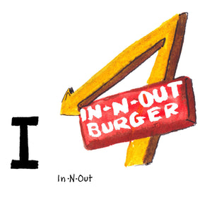 I is for In-N-Out. In-N-Out is an iconic California drive-through eatery serving classic hamburgers. They served their first hamburger in the suburb of Baldwin Park outside of Los Angeles in 1948.