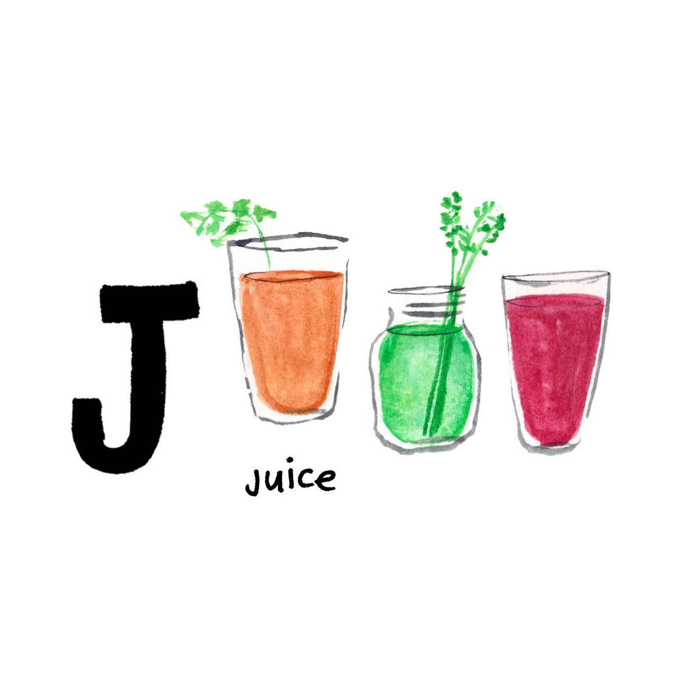 J is for Juice. California's residents are wildly enthusiastic about their health conscious lifestyle. Juicing and juice cleanses have been popular since the 1970s.