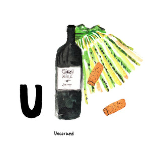 U is for Uncorked. California is the largest grape and wine producing state in the United States, and is responsible for producing over 99% of the commercially grown grapes in the country.