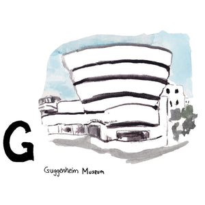 G is for Guggenheim Museum. Named after the first owner, Solomon R. Guggenheim, the museum moved into its iconic 20th century architecture building designed by Frank Lloyd Wright in 1952.
