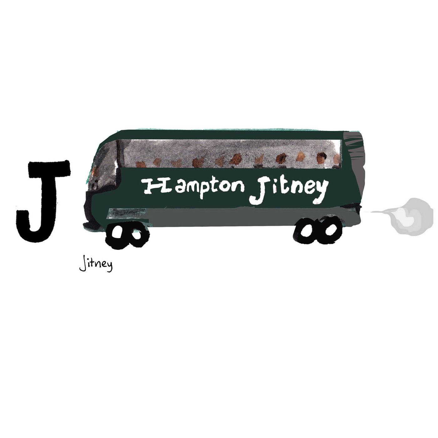 J is for Jitney. The Hampton Jitney is the legendary transportation service taking passengers from Manhattan out East to Long Island and the Hamptons. It also delivers pastries to and from the city.