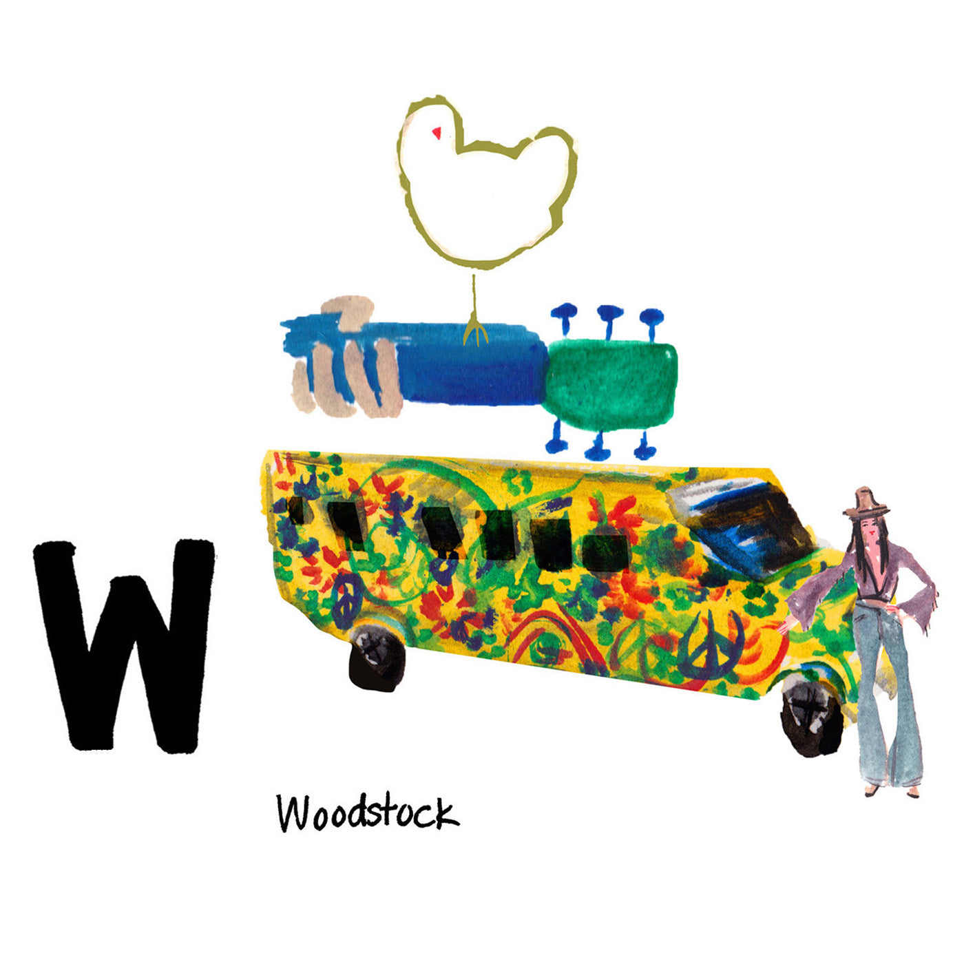 W is for Woodstock. The music festival was hosted in 1969 by a dairy farm in Bethel, NY after the towns of Woodstock and Wallkill refused. It lasted four days and had around 400,000 attendees.