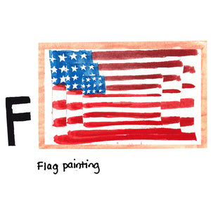 F is for Flag Painting. Internationally acclaimed artist Jasper Johns was born and raised in the state of South Carolina. The flag painting was inspired by a dream during his time in the military, and it is likely his best known work. It was painted in 1983, and sold in 2014 at Sotheby's New York for $36m.