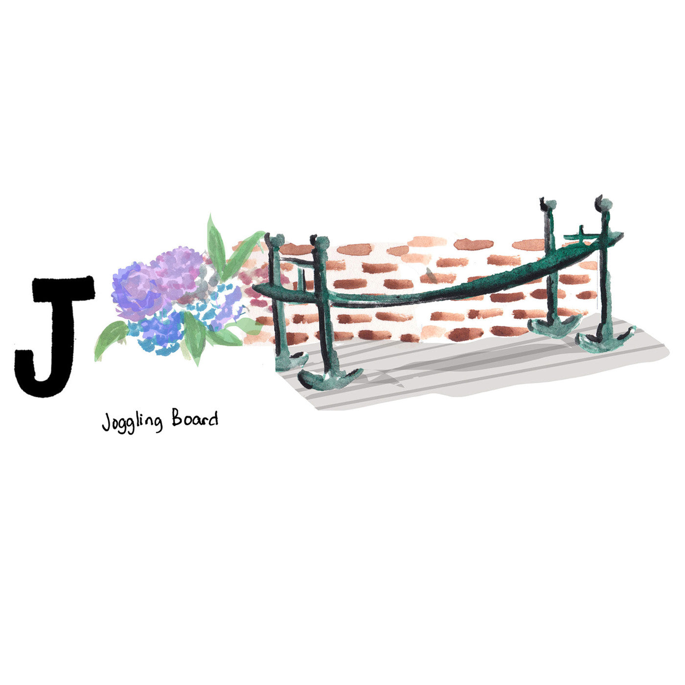 J is for Joggling Board. Traditionally painted Charleston green, the joggling board has been found on front porches and yards since the early 19th century. Many believed if you had a joggling board on your front porch you would never have an unwed daughter.