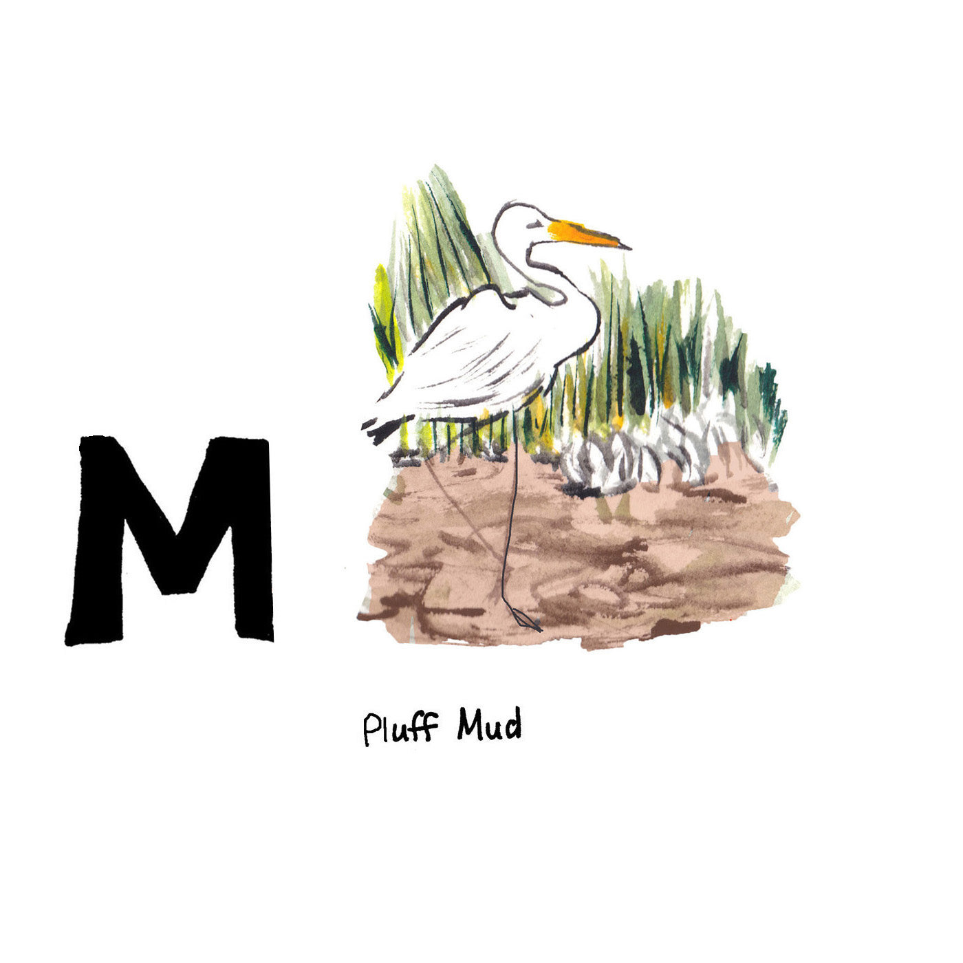 M is for Pluff Mud. Pluff mud is the home for some of our delicious seafood such as crabs, oysters and shrimp, and many rich local culinary delights are named after it.