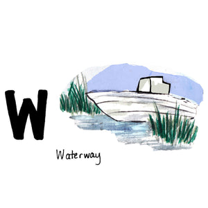 W is for Waterway. The Intercoastal Waterway began construction in North Carolina soon after the American Revolution. This inland waterway stretches 3,000 miles from Boston to the tip of Florida and further along the Gulf Coast to Brownsville, Texas. Its waterways are enjoyed by both commercial ships and boat enthusiasts.