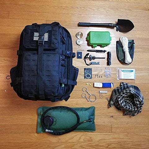 Tactical Backpack + Hydration Bladder with Emergency Tools & Survival Gear