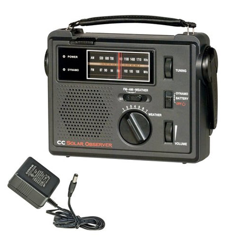 Wind Up Radio with AM FM Weather and built in LED Flashlight and AC Adapter