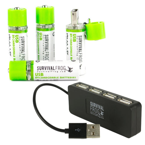 Rechargeable Batteries 4 Pack w/Free 4-Port USB Hub
