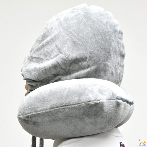 Travel Neck Inflatable Pillow with Hoodie Build-In
