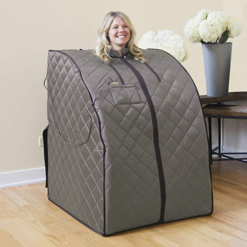 Portable Personal Sauna with FAR Infrared Carbon Panels, Heated Floor Pad, Canvas Chair
